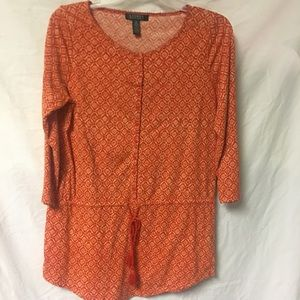 Lauren Ralph Lauren Orange Tunic Top